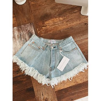 Flared Pale High Waisted Shorts