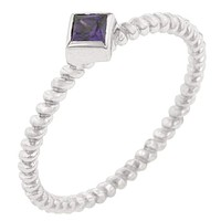 Twisted Petite Amethyst Solitaire Ring JGI