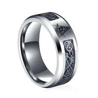 DCCKU62 New arrival High quality 8 mm Stainless Steel Dragon Scale Dragon Pattern Masonic Mens Ring Jewellery bijou