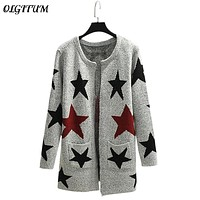 2018 New Autumn Spring Women Sweater Cardigans Casual Warm Long Design Female Knitted Sweater Printed Cardigan Sweater