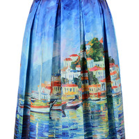 Blue Lake Scenery Print Pleated Midi Skirt