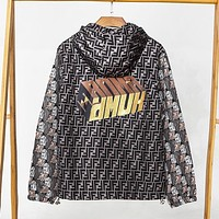 Fendi Fashion New More Letter Print Women Men Hooded Long Seeve Windbreaker Coat