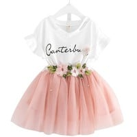 2018 New Casual Children Outfits Tracksuit Summer Clothing baby girls Floral t-shirt + girls tutu skirt Suit girls Clothing Set