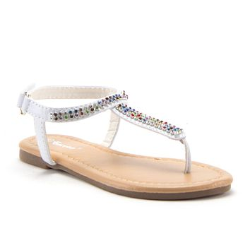 Girls 2710 Rhinestone Rainbow Crystals T-Strap Fashion Sandals Available for Toddlers