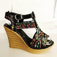 Leather Black Hand-painted Wedge