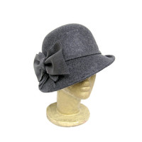 Dark Grey Wool Felt Vintage Style Hat with Handmade Matching Leather and Wool Bow