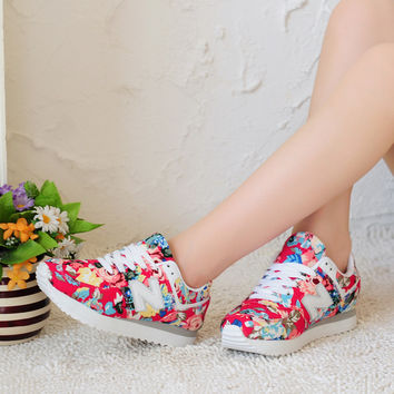 Fashion Casual Multicolor Floral Print Breathable N Words Sneakers Women Running Shoes