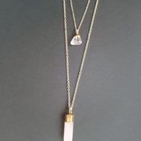 Light Pink Quartz Stone Double Layer Necklace