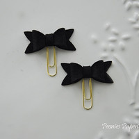 Black Petite Felt Bow Set on Gold Paper Clips Planner Clips for Your Erin Condren Filofax Kikki K Planner Accessories
