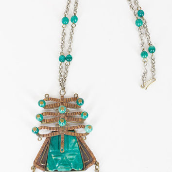 Vintage 70s Necklace / 1970s Green Mexican Agate Stone and Copper Tribal Mask Pendant Necklace