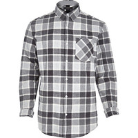 River Island MensGrey check long sleeve shirt