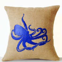 Sea pillow- Embroidered octopus pillow cover -Burlap pillow -Royal Blue throw pillow cushion -16x16 -Gift -Bedding -Blue cushion -Oceanic