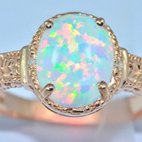 4 Carat Opal Oval Diamond Ring 14Kt Rose Gold Plated