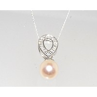 """Freshwater Pearl Necklace Clear CZ Teardrop Necklace .925 Sterling Silver, 18"""""""
