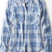 AEO Women's Plaid Boyfriend Shirt (Blue)