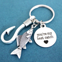 You're my best catch, Fish, Hooks, Heart, Key ring, You are my best catch, Love, Key chain, Best friend, Lover, Birthday, Gift, Keychain