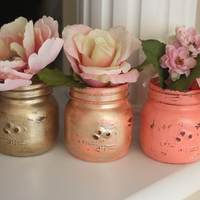 Set of Mason Jars, Painted Mason Jars, Distressed Jars, Mason Jar Vases, Coral Mason Jars, Coral Accents, Gold Mason Jars, Gold Vase