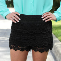 True Love Crochet Shorts - Black