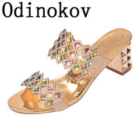 New 2017  Sexy Slippers Rhinestone Flip Flop Women Sandals Square Heel Slip-On Sandals Summer Shoes Woman High Heel Sandals
