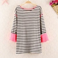 Mixed Color Stripes Shirt for Women 1