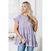 Kept Promises Lilac Smocked Top