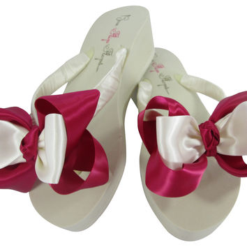 Knotted Fuchsia Double Ivory Bridal Flip Flops