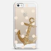 Glitter Anchor with Dots in Gold iPhone 5s case by Nika Martinez | Casetify