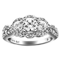 Sterling Silver Cubic Zirconia 3-Stone Infinity Ring, Size 7