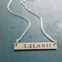 Personalized Gold Bar Necklace Roman Numeral Date Necklace Initial Necklace Bridesmaid Gifts Monogram Necklace