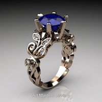 Nature Inspired 14K Rose Gold 3.0 Ct Blue Sapphire Diamond Leaf and Vine Crown Solitaire Ring RD101-14KRGDBS