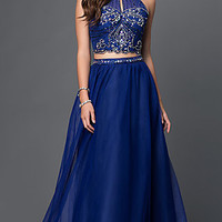 Masquerade Two Piece Halter Prom Dress with Jewel Embellished Bodice