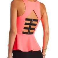Caged Zip-Back Peplum Top by Charlotte Russe - Neon Pink