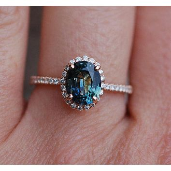 Custom 14K Rose Gold Oval Cut 1.3CT Genuine Blue Green Peacock Sapphire & White Sapphire Ring