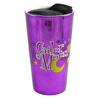 OFFICIAL Sailor Moon Purple Ceramic Travel Mug with Luna Cat, 16 oz, Set of 1 GIFT - Coffee /Travel Mugs