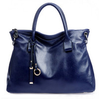 Fashionista Charms Navy Large Leather Tote. Dark Blue Document Bag