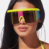 Act Up Reflective Shiled Sunnies Yellow