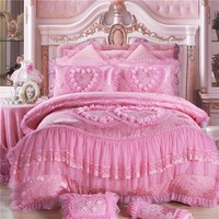 IvaRose lace luxury bedding set silk Jacquard wedding bed cover bedspread duvet cover set bedspreads queen King size 4/6/9pcs