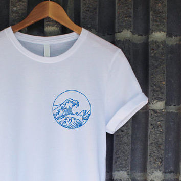 The Great Wave Shirt in White | Summer Shirt | Funny Shirt | Sea Shirt | Tumblr Shirt | Cute Shirt | Ocean Wave Surf Surfer Shirt Tee