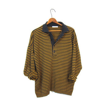 980s striped long sleeve shirt button up henley collared shirt brown black cotton slouchy top womens polo oversized slouchy pullover XL