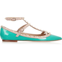 Valentino - Rockstud patent-leather point-toe flats