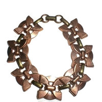 """Bracelet - Vintage Copper and Brass Deco Butterfly Link 20mm. Wide Chain 7.5"""" Long"""
