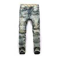 Washed Hot Style Man Solid Color Slim Extensible Medium Pants