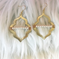 Gold Shape Earrings with Pearl Wrap