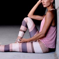 Rose Color High Waist Yoga Pants Women's Fitness Sport Running Leggings Stripe Printed Elastic Gym Workout Athletic Tights