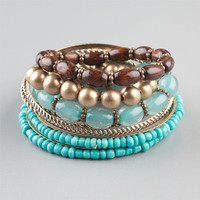 Full Tilt 9 Piece Seed/Wood Bead Bracelets Turquoise Combo One Size For Women 23452125901