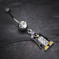 Adorable Penguin Sparkle Belly Ring