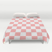 Coral Pink Checker Squares Duvet Cover by BeautifulHomes   Society6