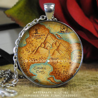 Neverland Map - Once Upon A Time Inspired Necklace -  Handmade