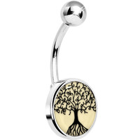 Steel Glow in the Dark Tree of Life Belly Ring | Body Candy Body Jewelry