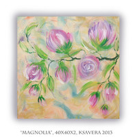 Magnolia Blossom Acrylic Painting impressionism Floral Tree of life  Enchanted Forest KSAVERA sakura Abstract  Modern Art Pastel